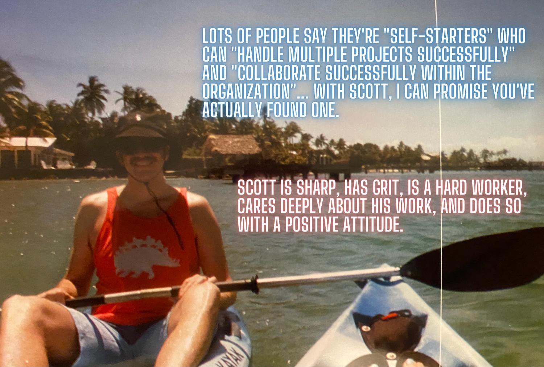 Scott Bedgood on a kayak with testimonials written on the photo.